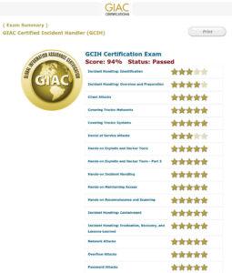 Ergebnis der Prüfung für die Zertifizierung GCIH Gold, 94 Prozent von 100