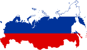 Karte und Flagge Russlands